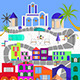 Greek Island Santorini Colorful Background - GraphicRiver Item for Sale