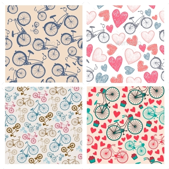 GraphicRiver Vector Set Of Hand Drawn Vintage Seamless Bicycle 11319316