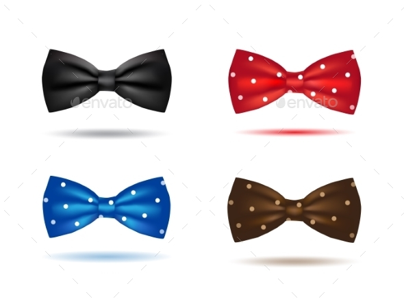 GraphicRiver Vector Set Of Colorful Realistic Bow Ties 11319320