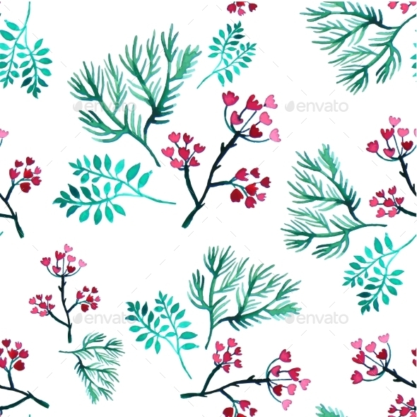 GraphicRiver Vector Leaves And Flowers Watercolor Seamless 11319372