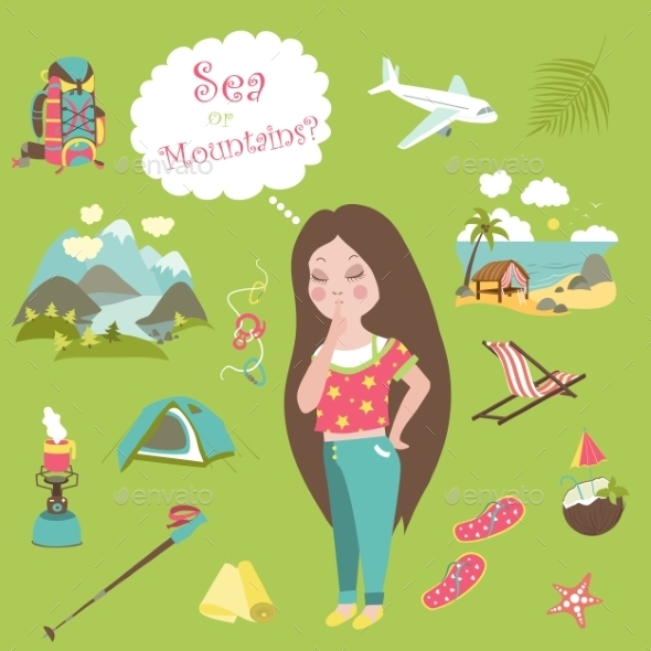 GraphicRiver Girl Thinks Where To Travel Mountains Or Sea 11319497