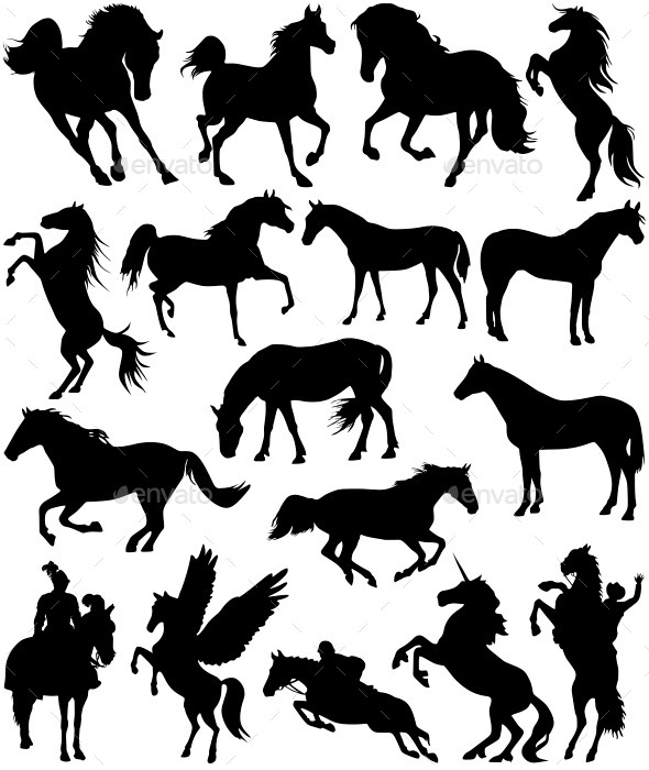 GraphicRiver Horse Silhouettes 11319783