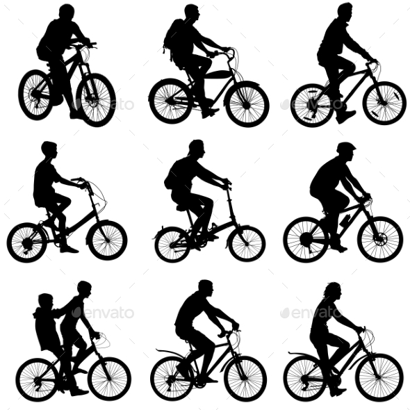 GraphicRiver Set Silhouette Of a Cyclist Male And Female 11319969
