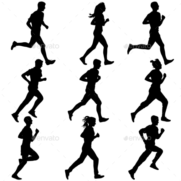 GraphicRiver Set Of Silhouettes Runners On Sprint Men Vector 11319970