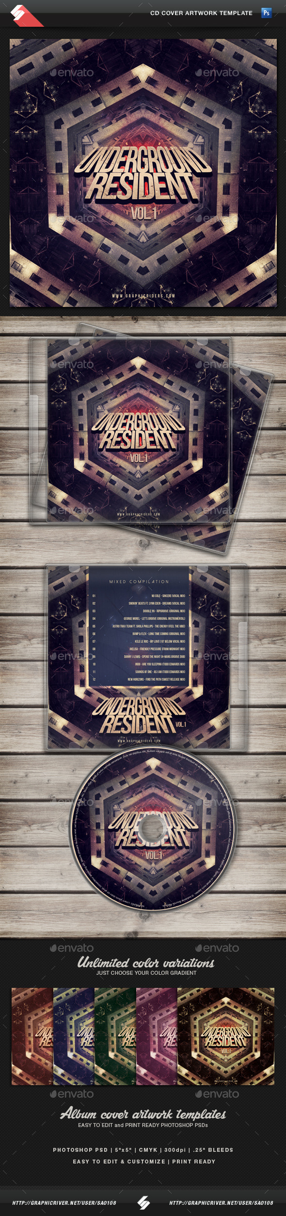 GraphicRiver Underground Resident vol.1 CD Cover Template 11320010