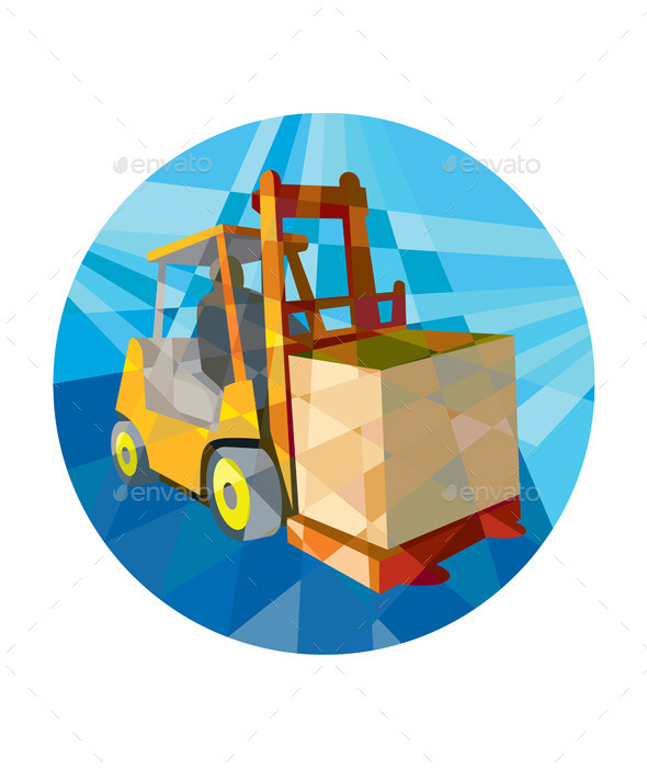 GraphicRiver Forklift Truck Materials Box Circle Low Polygon 11320058