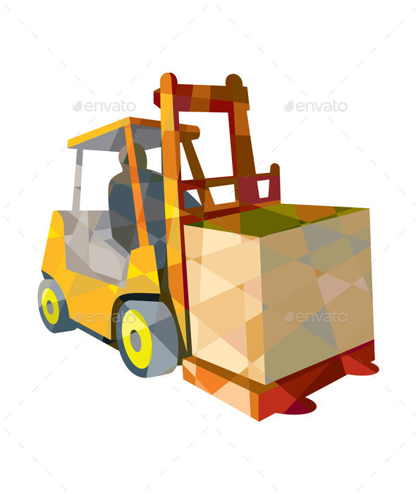 GraphicRiver Forklift Truck Materials Handling Box Low Polygon 11320065