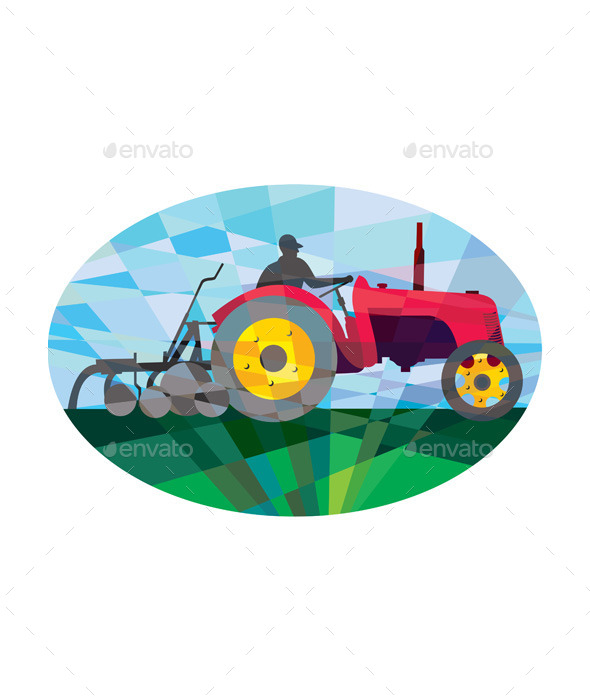 GraphicRiver Farmer Driving Vintage Farm Tractor Oval Low 11320079