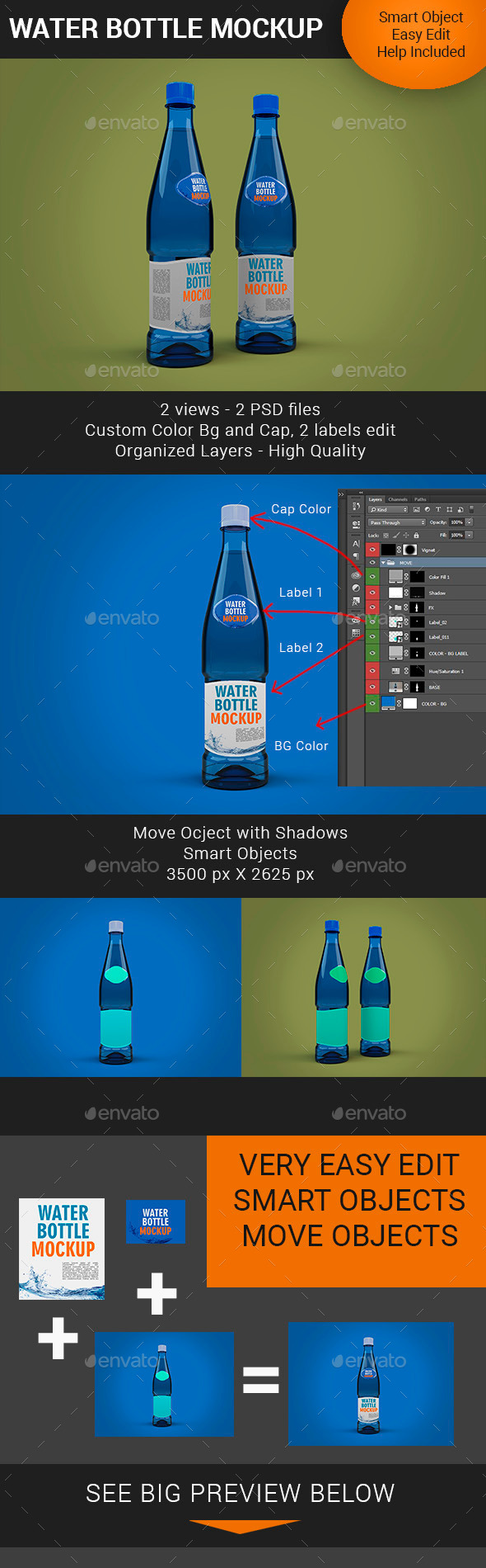 GraphicRiver Water Bottle Mockup Premium 11321501