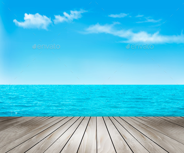 GraphicRiver Nature Background With A Wooden Deck The Sea 11317347