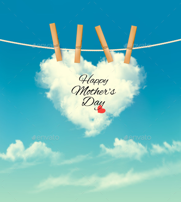GraphicRiver Holiday Mother Day Background With Cloud On Rope 11317354