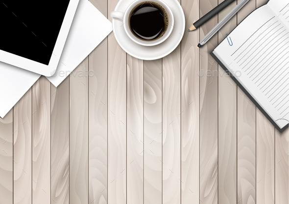 GraphicRiver Office Workspace With Coffee Tablet Paper and Pens 11317387