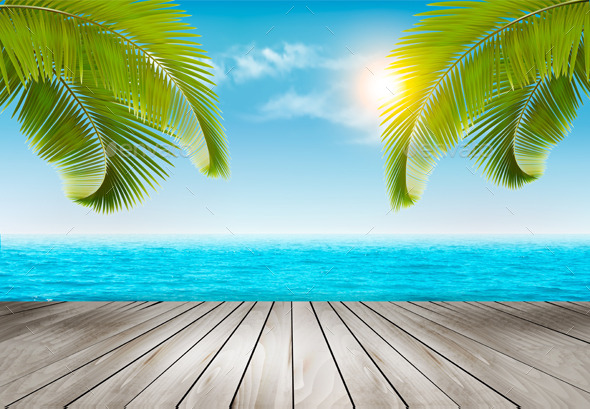 GraphicRiver Vacation Background Beach With Palm Trees And Blue Sea 11317391