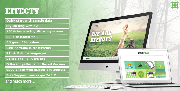 ThemeForest Effecty Responsive Single Page Joomla Theme 11322743