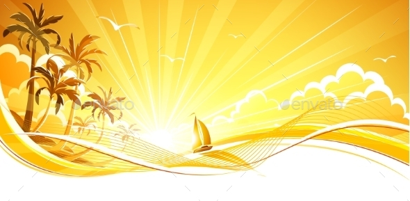 GraphicRiver Sunny Background with Palm Trees 11322827