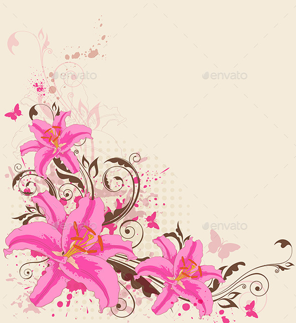 GraphicRiver Pink Lily and Butterflies 11323148