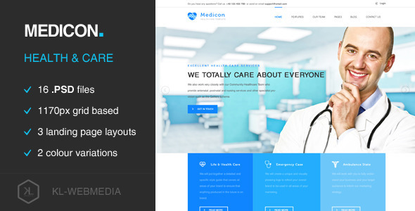 ThemeForest Medicon Health Care PSD Template 11259268