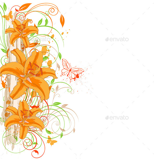 GraphicRiver Orange Lily and Butterflies 11323434