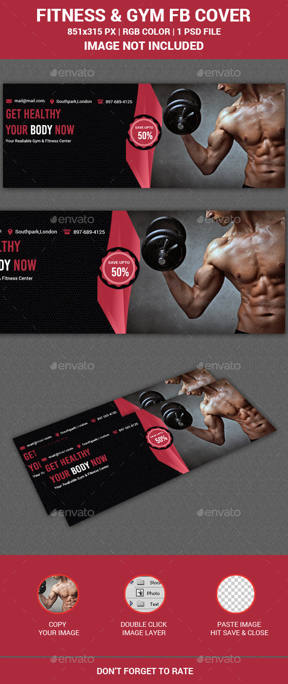 GraphicRiver Gym & Fitness Facebook Timeline Cover 11323483