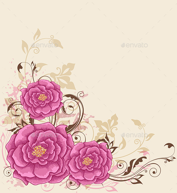GraphicRiver Background with Pink Roses 11323493