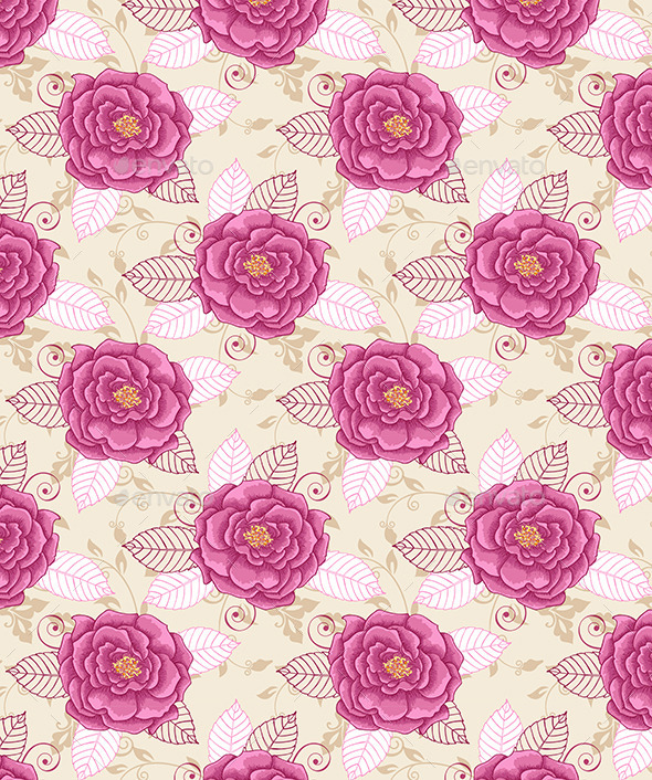 GraphicRiver Seamless Pattern with Pink Roses 11323540