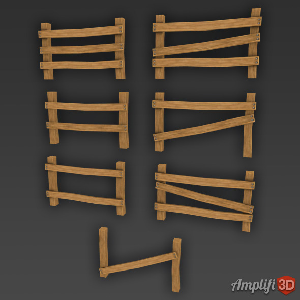 Low Poly Cartoon Fence Set - 3DOcean Item for Sale