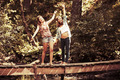 Two young fashion teen girls in a summer forest - PhotoDune Item for Sale