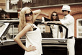 Young fashion blond woman at the retro car - PhotoDune Item for Sale