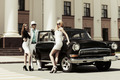 Young fashionable people at the retro car - PhotoDune Item for Sale