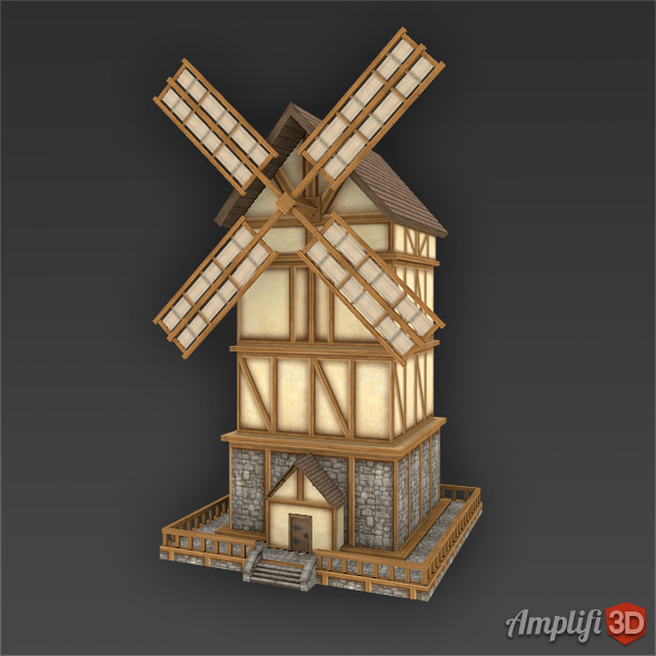 Low Poly Cartoon Windmill Farm - 3DOcean Item for Sale