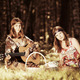 Two young fashion girls with guitar in a summer forest - PhotoDune Item for Sale