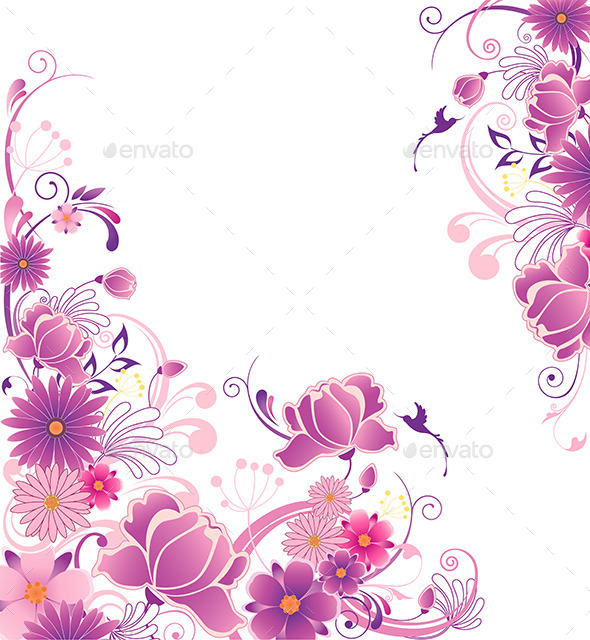 GraphicRiver Floral Background with Pink and Violet Flowers 11323733