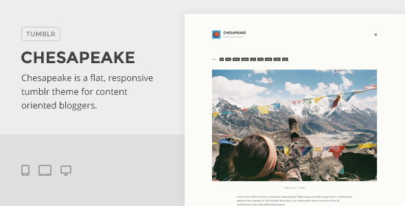 ThemeForest Chesapeake A Flat Media-Friendly Tumblr Theme 11324372