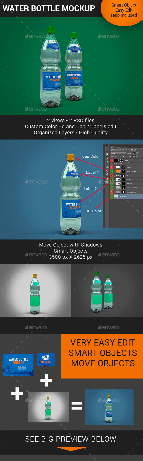 GraphicRiver Water Bottle Mockup V2 11325351