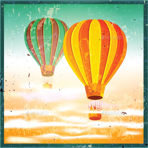 GraphicRiver Old Poster with Air Balloons 11325408