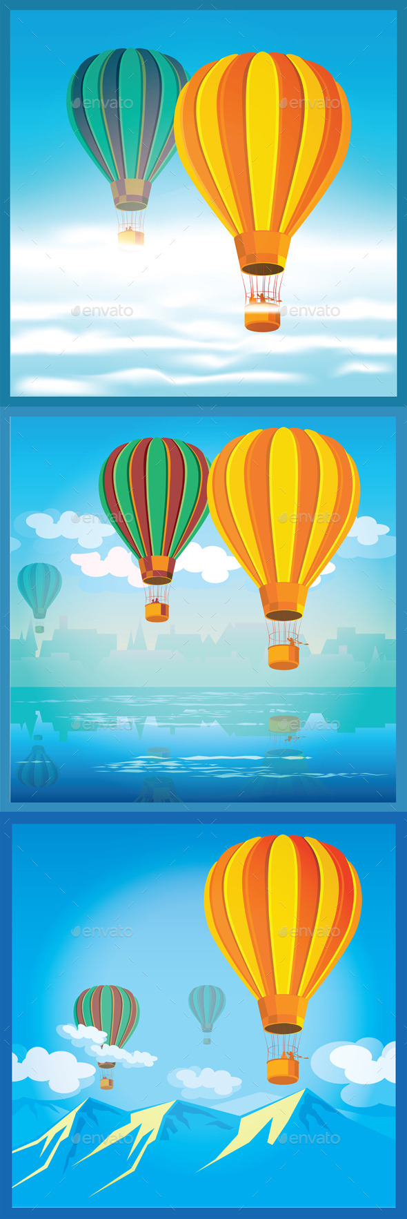 GraphicRiver Three Illustration with Air Balloons 11325538