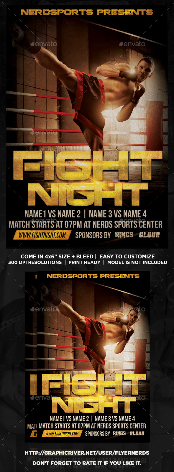 GraphicRiver Fight Night Sports Flyer 11325917