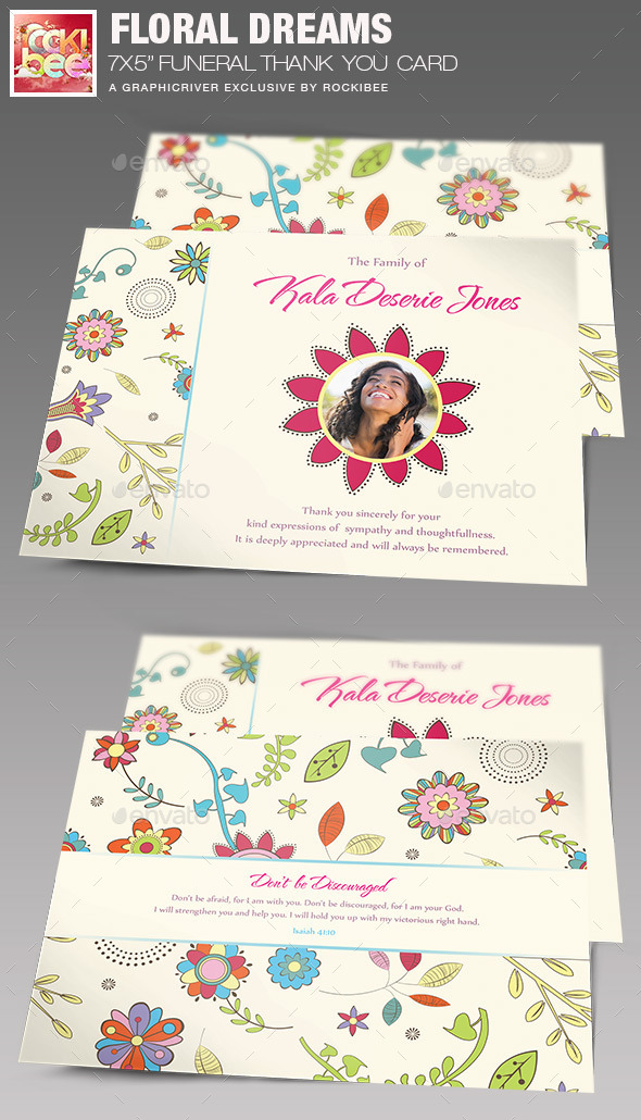 GraphicRiver Floral Dreams Funeral Thank You Card 11326002