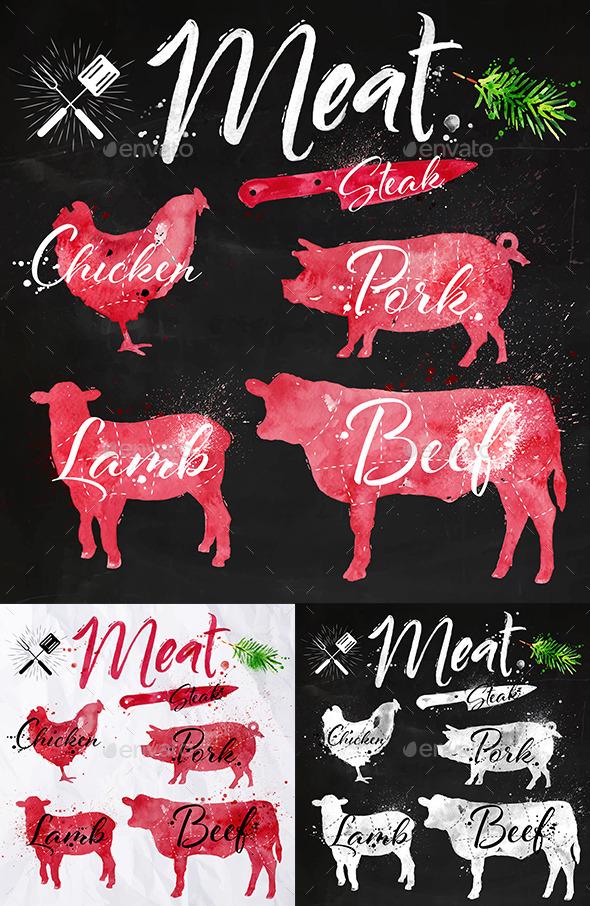 GraphicRiver Watercolor Meat Symbols 11326052