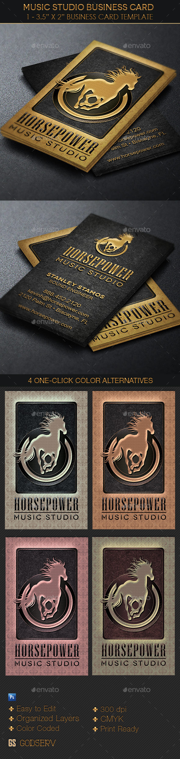 GraphicRiver Music Studio Business Card Template 11326847