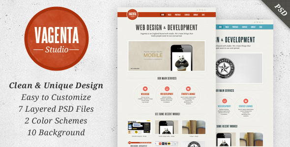 Vagenta - Clean & Unique PSD Template - Portfolio Creative