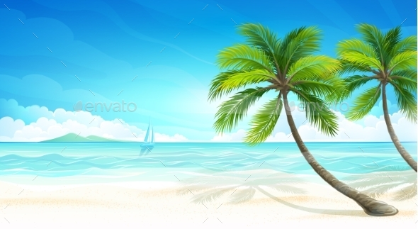 GraphicRiver Tropical Beach Vector 11327852
