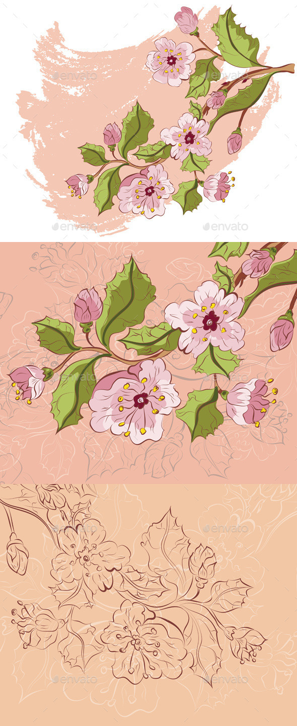 GraphicRiver Colored Sketch of Sakura Branch 11328985