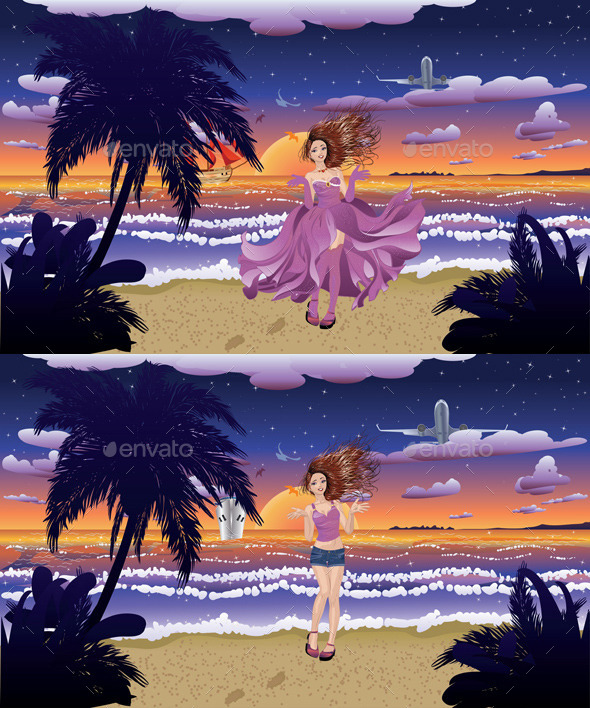 GraphicRiver Fashion Girl on the Beach 11329174