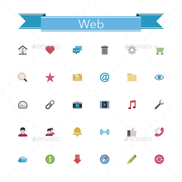 GraphicRiver Web Flat Icons 11329173