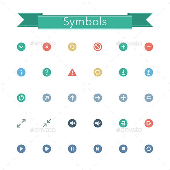 GraphicRiver Symbols Flat Icons 11329177