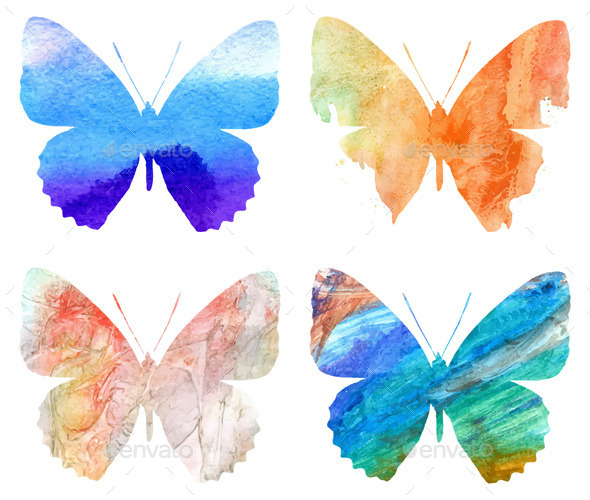 GraphicRiver Watercolor Butterflies 11329195