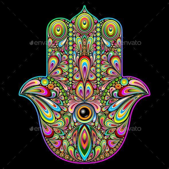 GraphicRiver Hamsa Hand Psychedelic Art 11329536