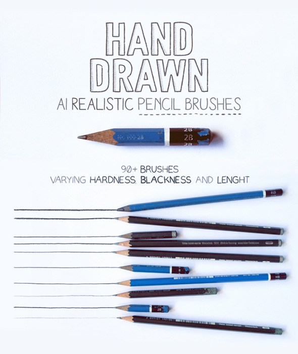 GraphicRiver 92 Realistic Pencil Brushes for AI CC 11329539
