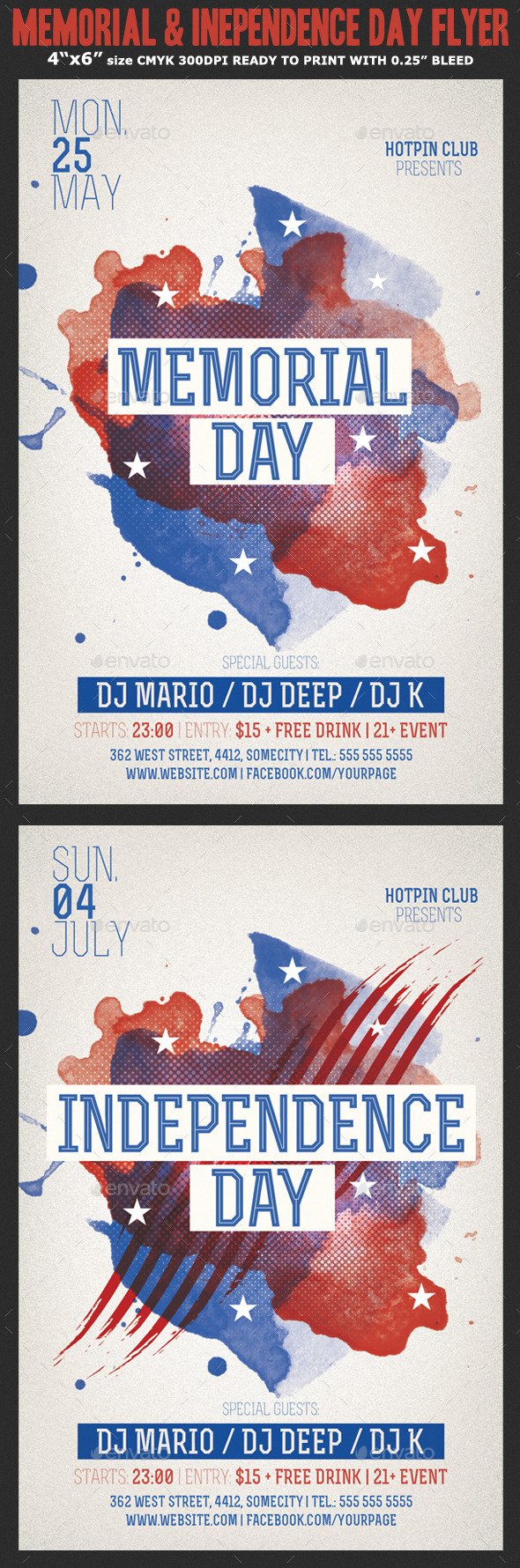 Memorial/Independence Day Flyer Template